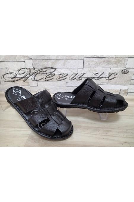 Мъжки чехли А-112 черни от еко кожа