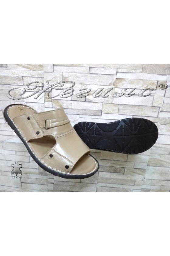 Men's sandals 050 beige leather