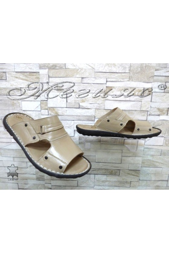 Men's sandals 050 beige leather