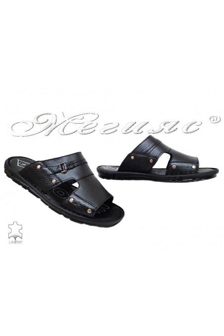 Мъжки чехли Ато 050 черни от естествена кожа