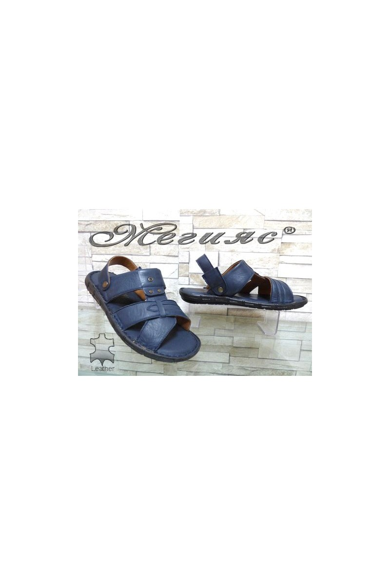 1411 Мъжки сандали сини от естествена кожа