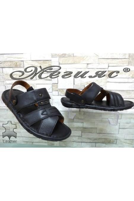 1411 Мъжки сандали черни от естествена кожа