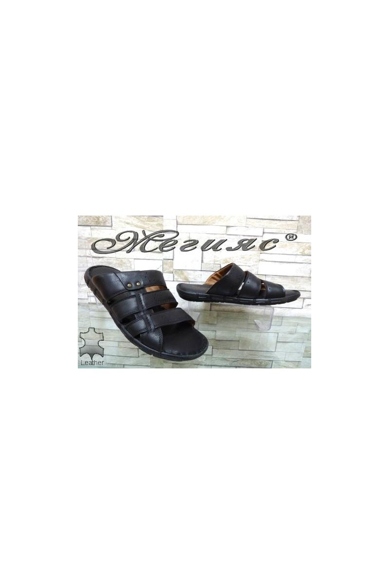 1925-1 Мъжки чехли черни от естествена кожа