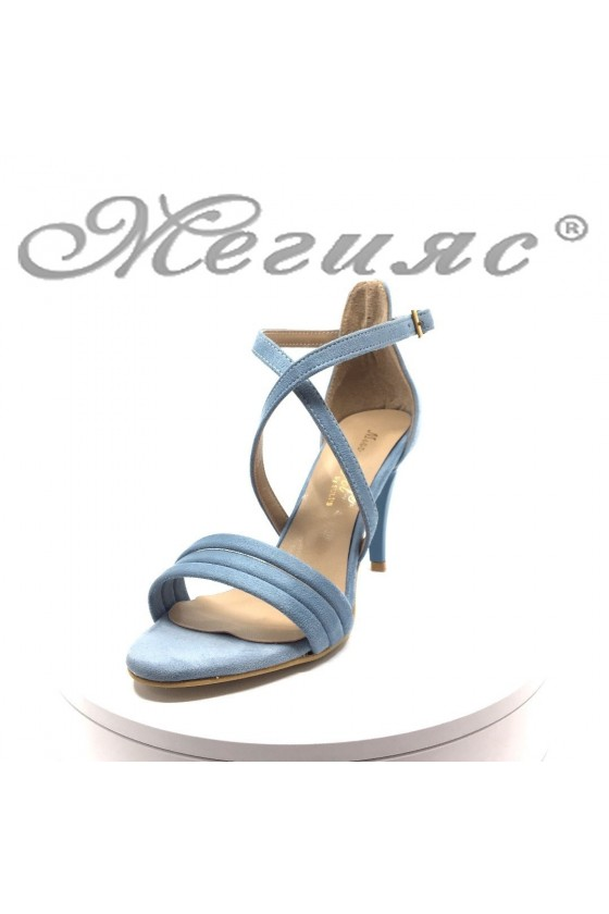Women elegant sandals 391 Lt.blue suede with middle heel