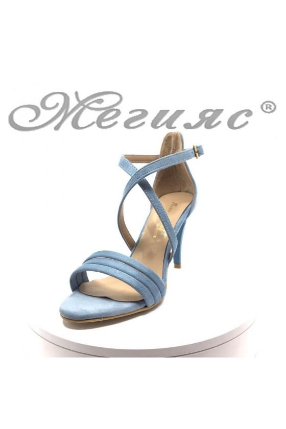 Дамски сандали 391 светло сини велур елегантни на среден ток
