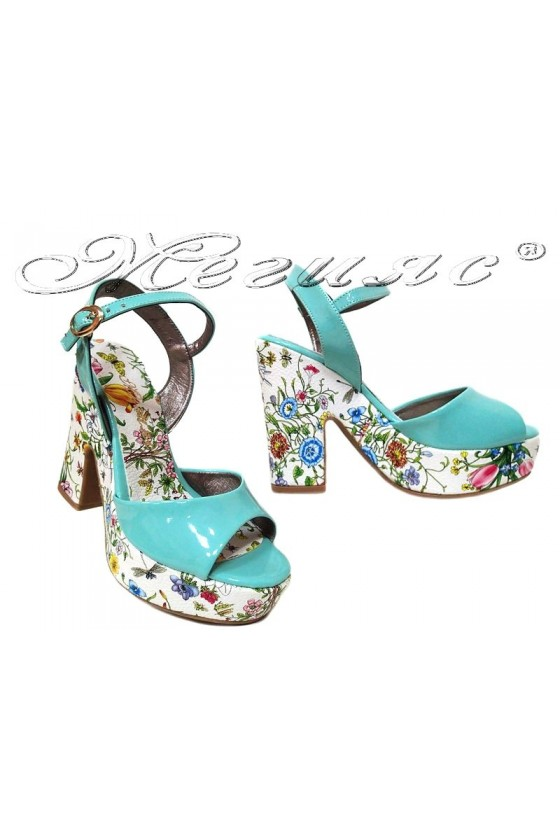 Ladies high heel sandals 938 elegant green flowers pu patent