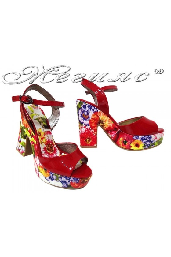Ladies high heel sandals 938 elegant red flowers pu patent
