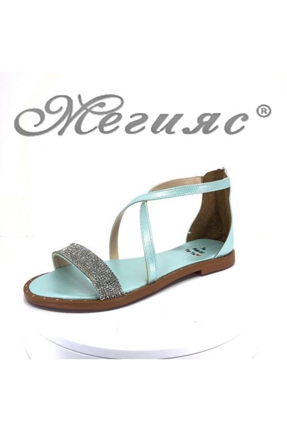 Дамски сандали Х-166 мента равни от еко кожа