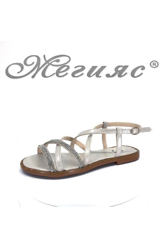 Дамски сандали Х-169 бели равни от еко кожа