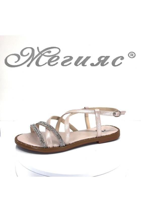 Дамски сандали Х-169 пудра равни от еко кожа