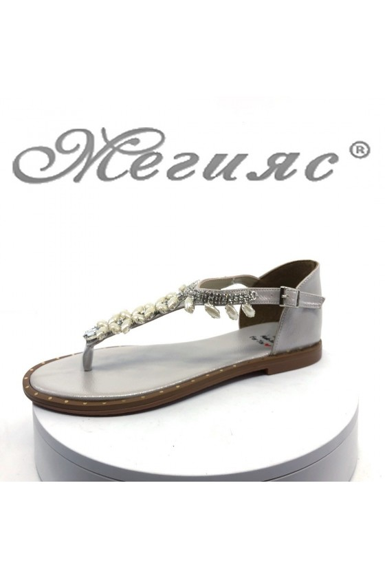Дамски сандали Х-171 сребристи равни от еко кожа