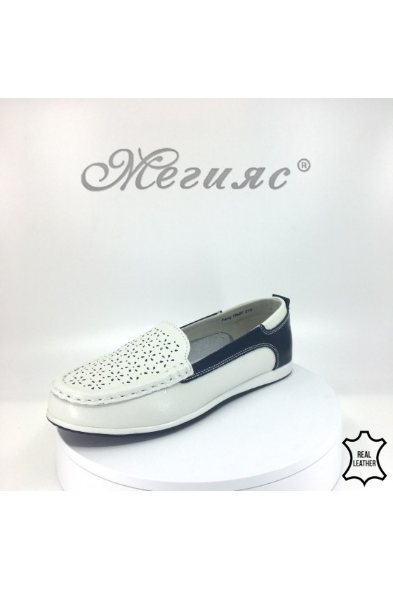 Lady shoes 18s20-216 white/navy leather