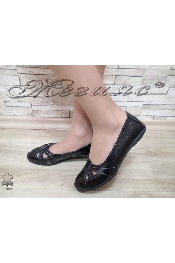 Дамски ежедневни обувки FENG S1720-251 черни естествена кожа