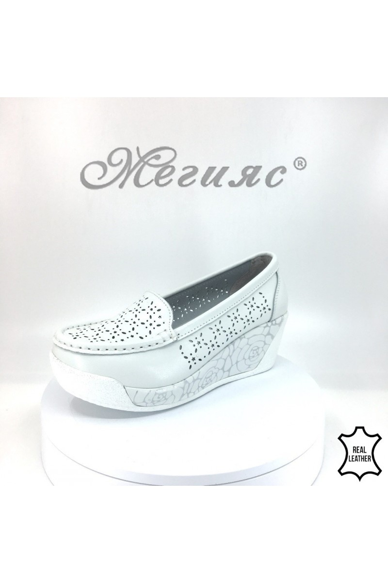 Lady platform shoes FENG 18s-20-209 white leather