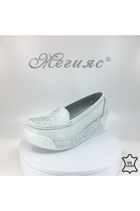 Lady platform shoes 1820-210 white leather