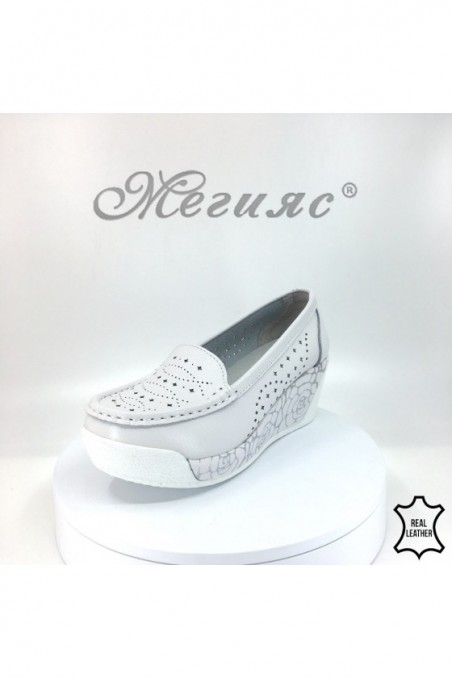 Women platform shoes FENG 18s-20-211 white leather