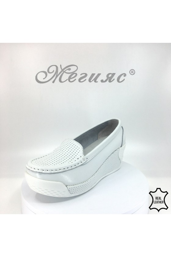 Lady platform shoes FENG 18s-20-219 white leather