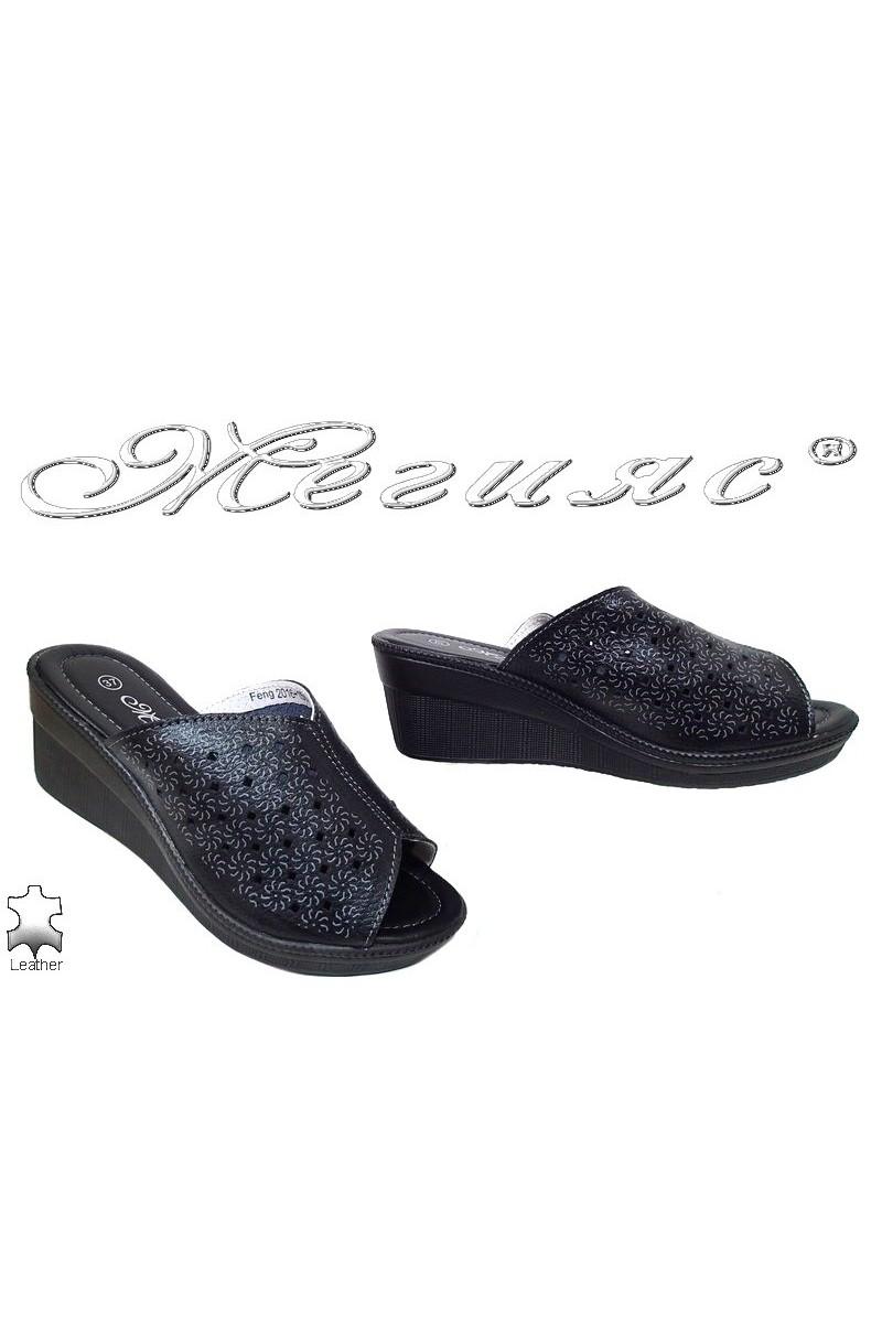 Дамски чехли FENG 2016-152 черни от естествена кожа с платформа