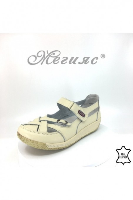 Lady shoes 18s-20-253 beige leather