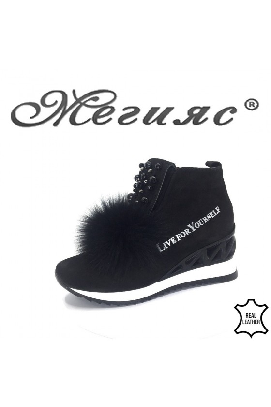 954-14 Women boots black leather