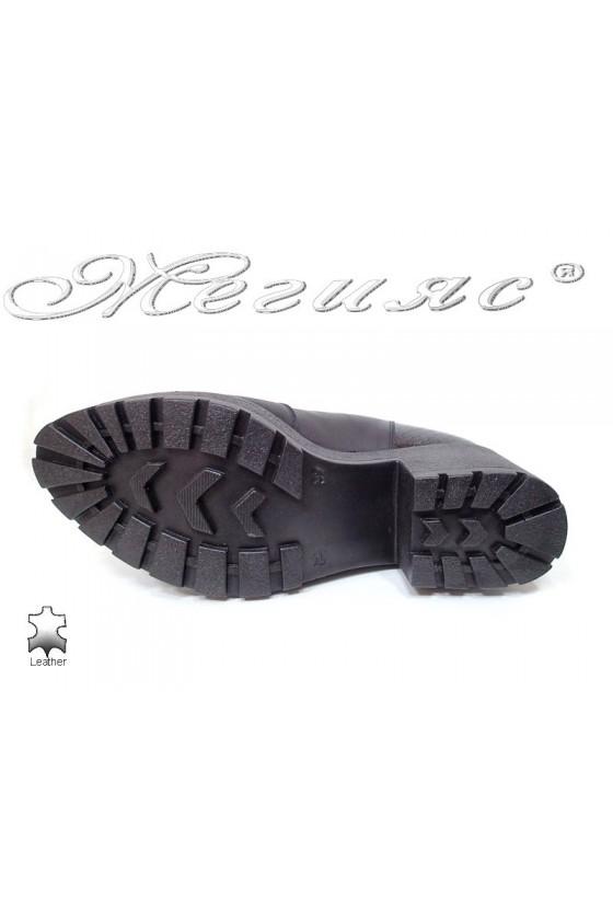 Дамски боти  черни естествена кожа + лак змия 271-2096