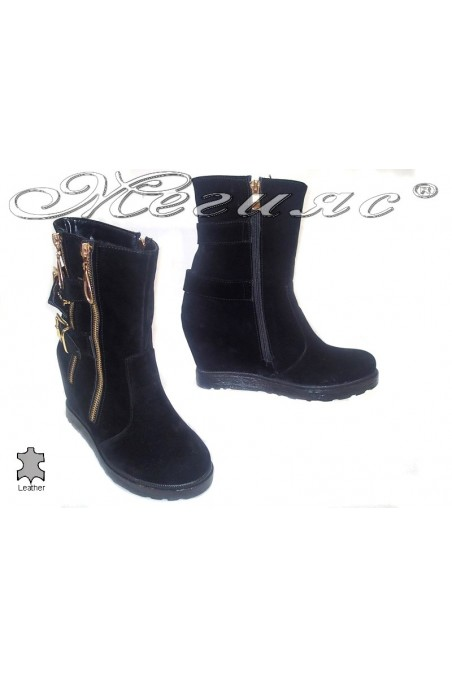 Women ankle casual boots 333 platform black suede leather