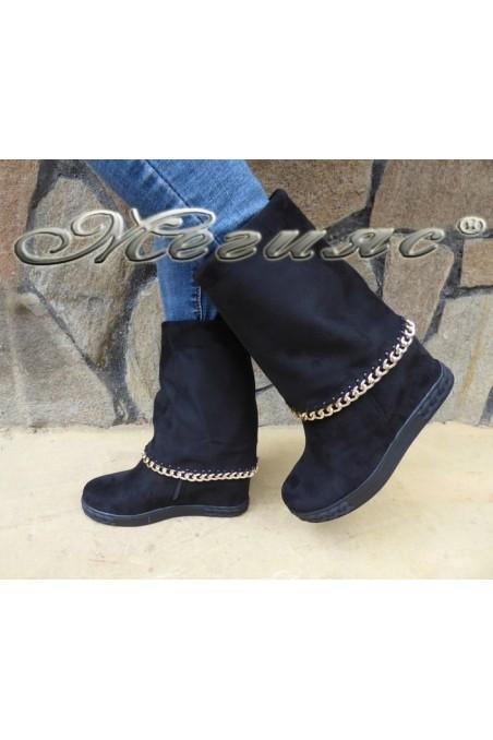 Дамски ботуши Cassie 18-2496 черни от еко велур със скрита платформа