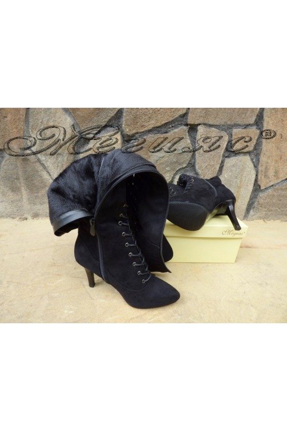 Lady long boots CASSIE 18-2504 black suede