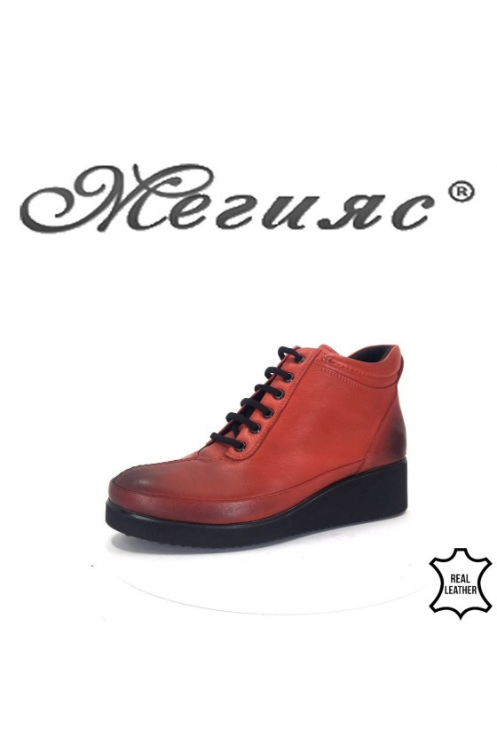1019 Women boots red leather