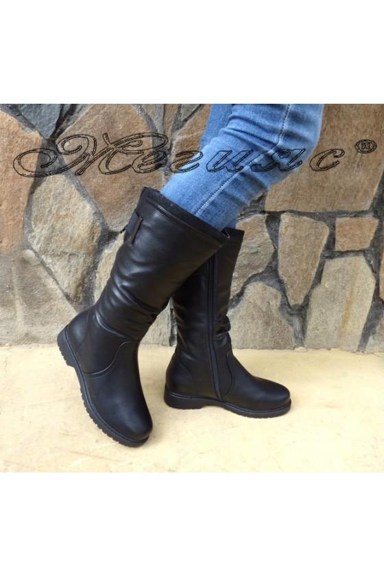 Дамски ботуши черни ежедневни от еко кожа 18-2406