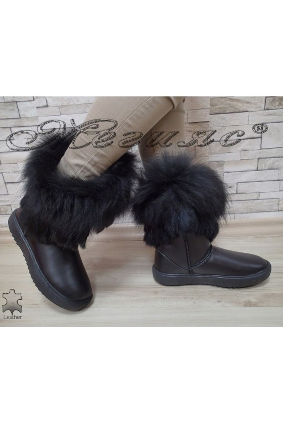 Women boots 2017 black leather