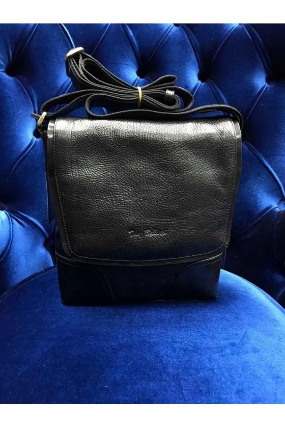 2028 Дамска чанта чисто черна от естествена кожа