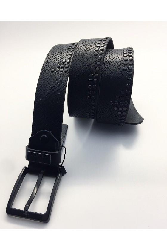 367 01 Мъжки колан в черен цвят с кроко шарка