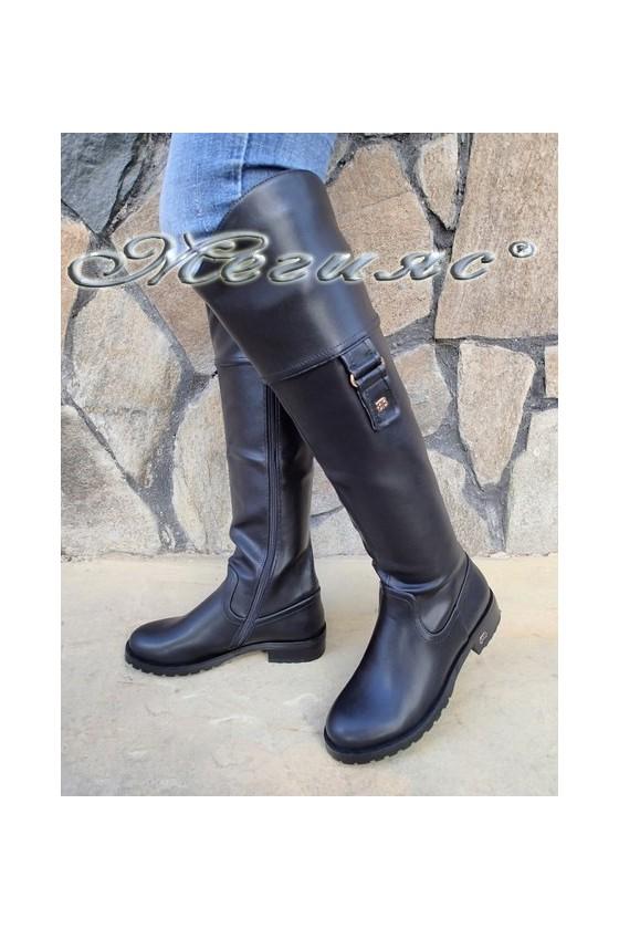 Дамски ботуши Carol  20W18-2056 черни от еко кожа с широк ток