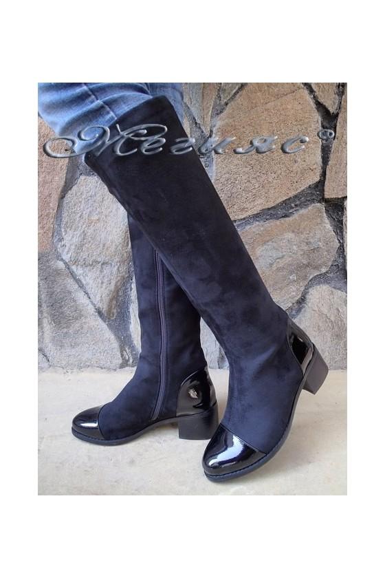 Дамски ботуши Carol 20W18-2186 черни от еко велур и лак с широк ток