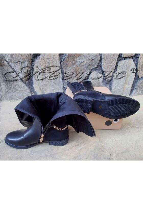 Дамски ботуши Christine 20w17-252 черни от еко кожа с велур