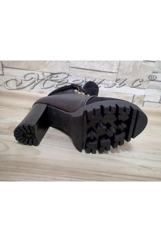 Дамски боти Carol 20W17-147 черни мат+велур с широк ток