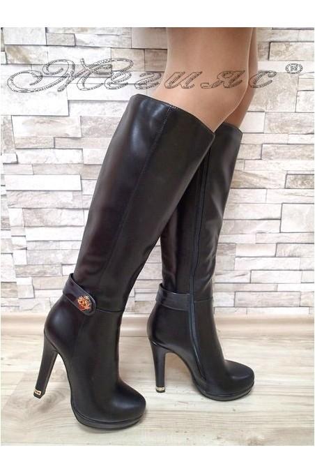 Дамски ботуши Carol 20W17-115 черни елегантни от еко кожа с висок ток