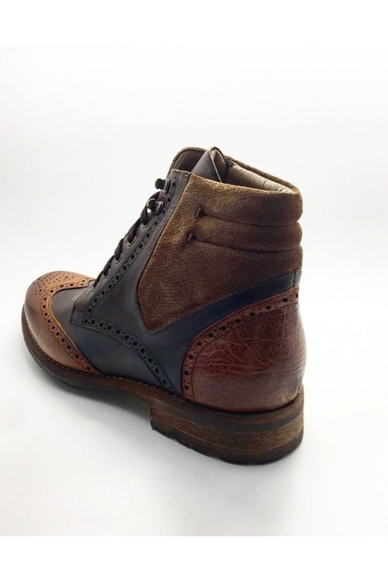 6604 Men boots brown leather and sued