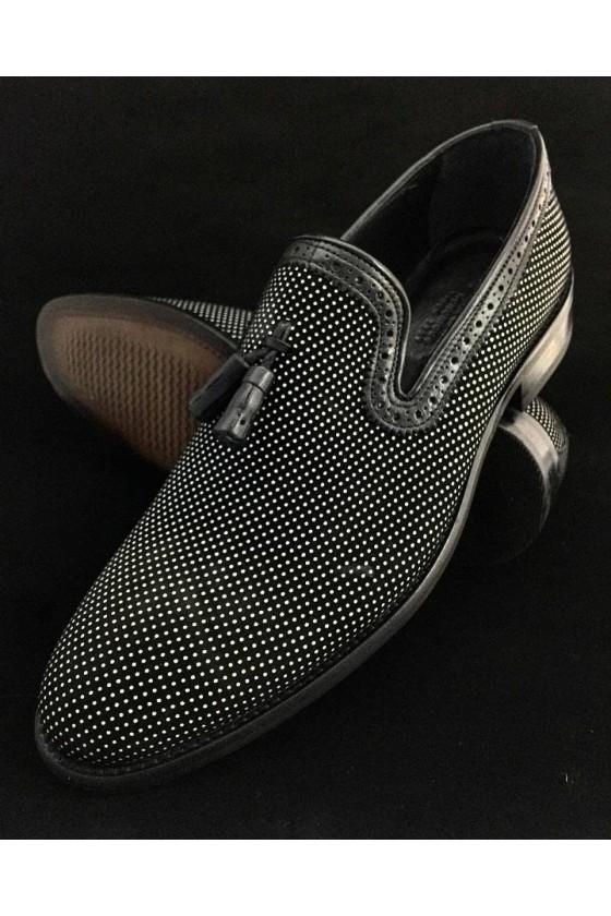 506 Мъжки черни обувки  от естествена кожа