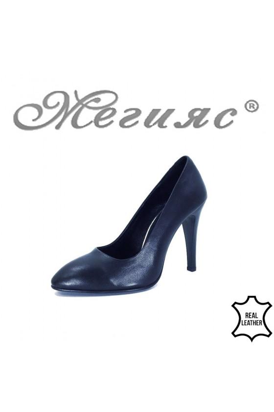 80-110-40 Дамски елегантни обувки черни от естествена кожа