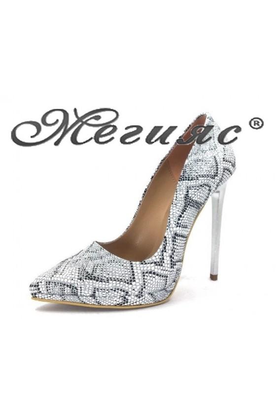 00500 Дамски обувки текстил брокат змия елегантни на висок ток