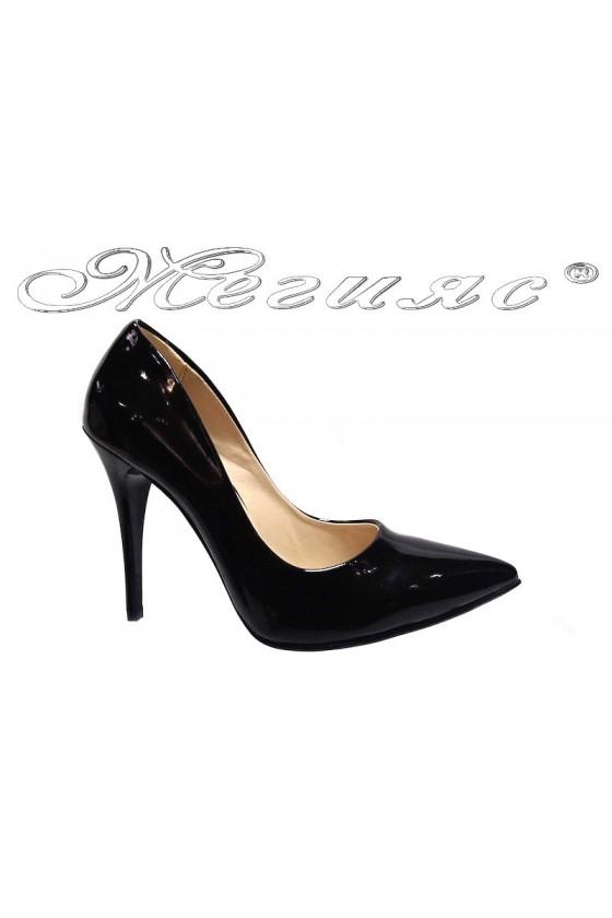 Lady elegant  shoes 1800 black patent high heel