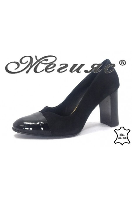 140-43-15 Дамски обувки  черен велур с лак елегантни на широк ток