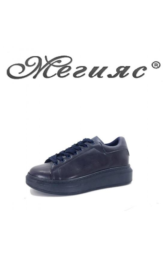 5686 Дамски спортни обувки сини от еко кожа