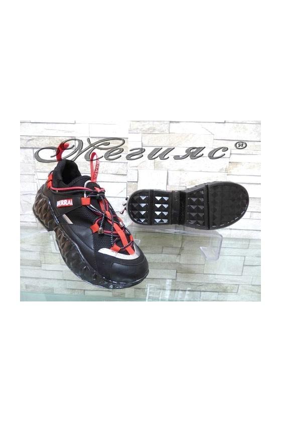 395 Women sport shoes red/black pu