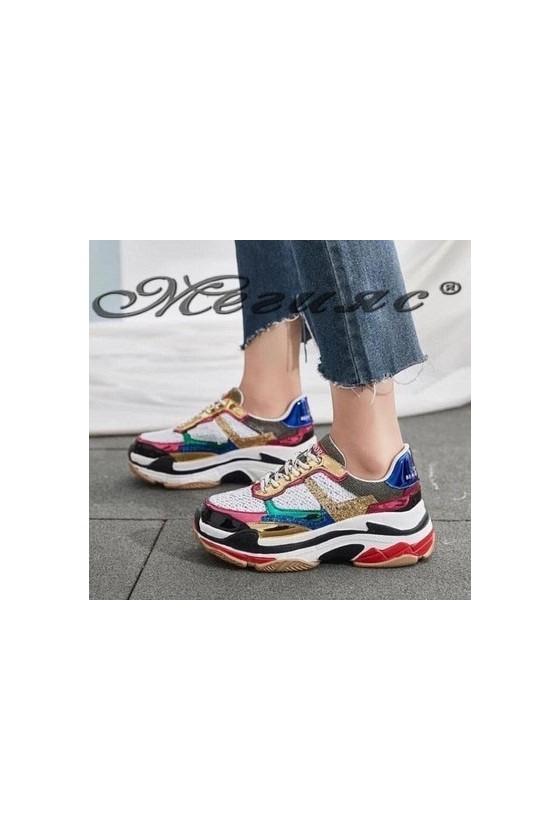 3312 Дамски спортни обувки бели тип маратонки