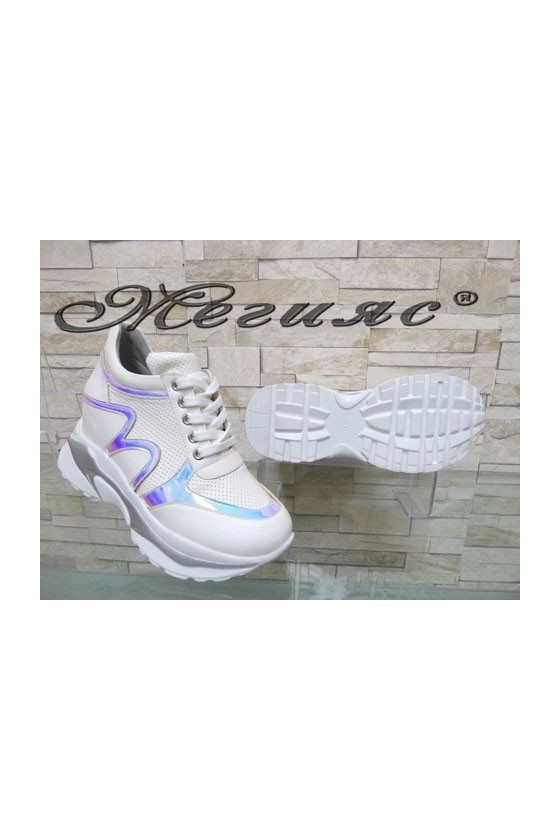 833-8 Women platform shoes white pu