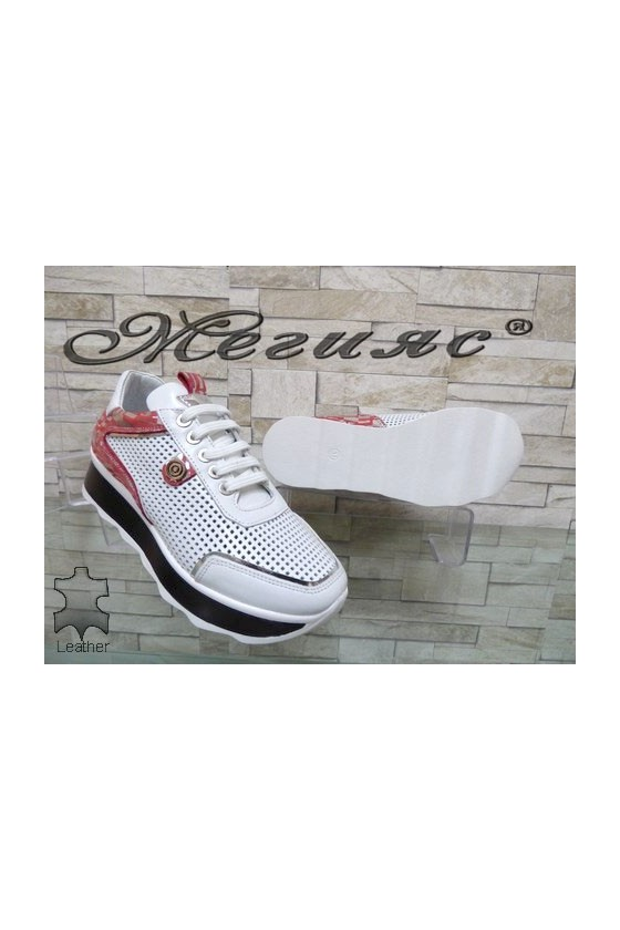64-1 Дамски спортни обувки бели с червено от естествена кожа