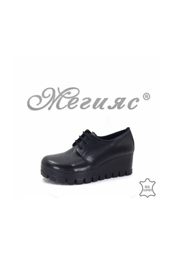 906-04 Lady shoes black natural leather